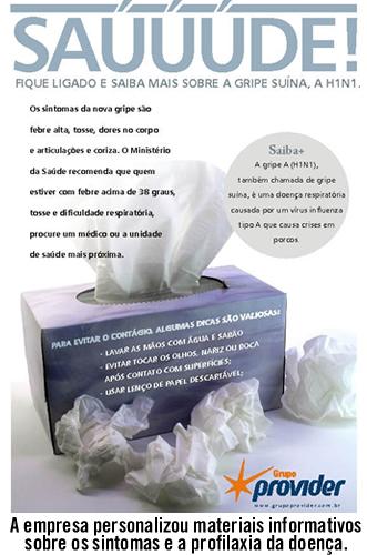 Cartilha personalizada criada pela empresa sobre sintomas e profilaxia da doença.