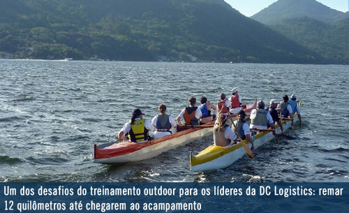 Líderes da DC logistics Brasil durante treinamento outdoor